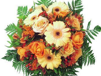 Bouquet rond orange avec roses : Bouquet rond orange avec roses
