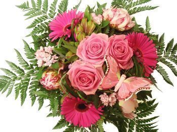 Bouquet de forme arrondie rose et fuschia : Bouquet de forme arrondie rose et fuschia